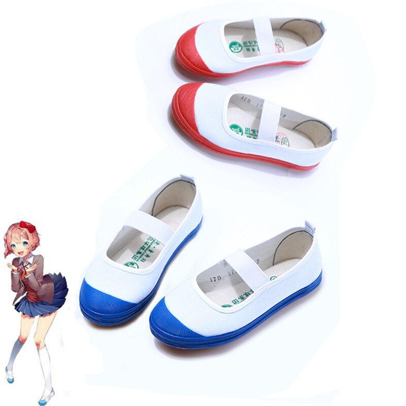 2019 Game Doki Doki Literature Club Cosplay Shoes Sayori Cosplay Yuri Natskuki Cosplay Sports Shoes For Women Blue Red Shoes