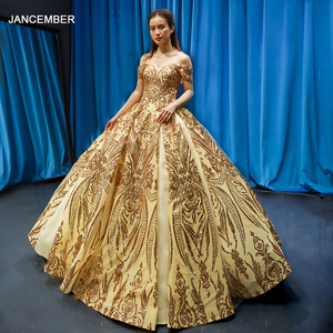 Image 1 - J66709 Jancember Goud Quinceanera Jurken V hals Uit De Schouder Lovertjes Lace Up Back Vestidos Elegantes Para Свадебний Платья