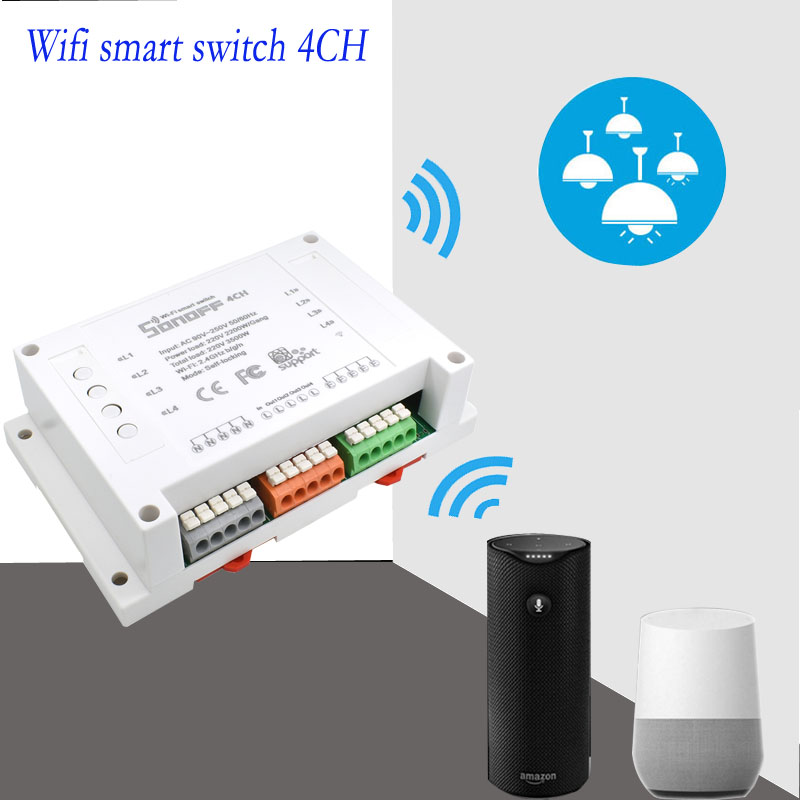 Itead Sonoff 4CH(4-gang) din rail mounting WiFi switch Wireless intelligent on off switch 10A/2200W for smart home Automation