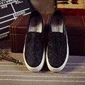 2017 Nuevas Mujeres Del Resorte Zapatos Planos de la Plataforma Del Mollete Zapatos Mocasines Mujer Casual Blanco Negro Mujeres Holgazanes Perezosos Zapatos XP35