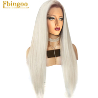 Ebingoo Platinum Blonde Ombre Dark Roots Middle Part Natural Long Straight Synthetic Lace Front Wig For White Women