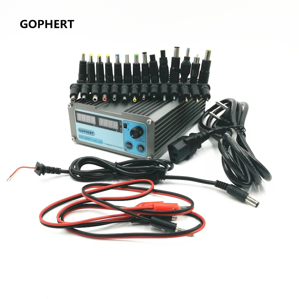 CPS-3205 II Compact Digital Adjustable DC Power Supply OVP/OCP/OTP+28 PCS connector Notebook power adapter 32V5A  0.01V/0.01A cps 3205 wholesale precision compact digital adjustable dc power supply ovp ocp otp low power 32v5a 110v 230v 0 01v 0 01a dhl