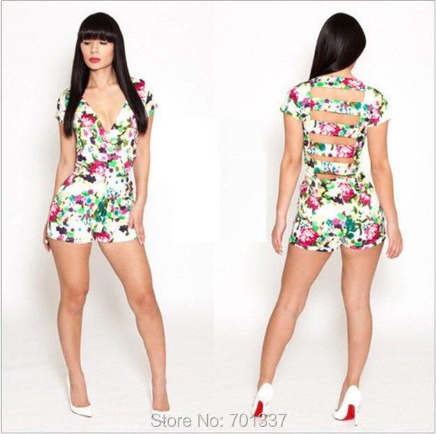 Gothic Fashion Flower Print Catsuit Jumpsuits & Playsuits Pants  Club Wear S,M,L KM098