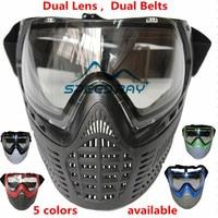 Tactical Militar nuevo Soft PE anti niebla de doble lente dual cinturones paintball completo cómodo Cara protección para CS guerra juegos