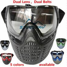 Тактический военный Новый Мягкая PE Анти-туман двойной объектив двойной ремни Пейнтбол маска удобная анфас Защитные для игры CS войны
