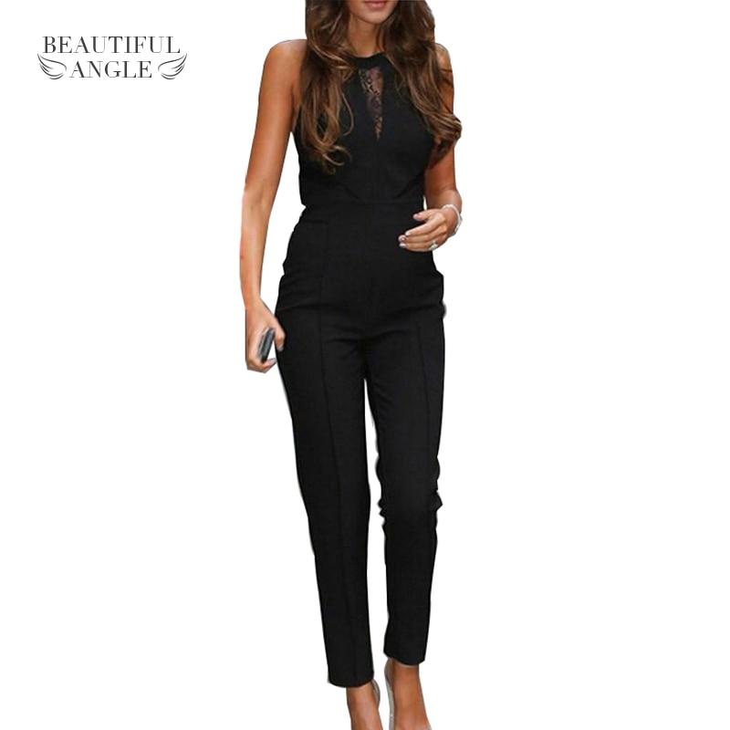 2017 Lace Patchwork Romper Playsuits Long Pants Plus Size New Elegant Rompers Sleeveless Women Jumpsuit Fashion