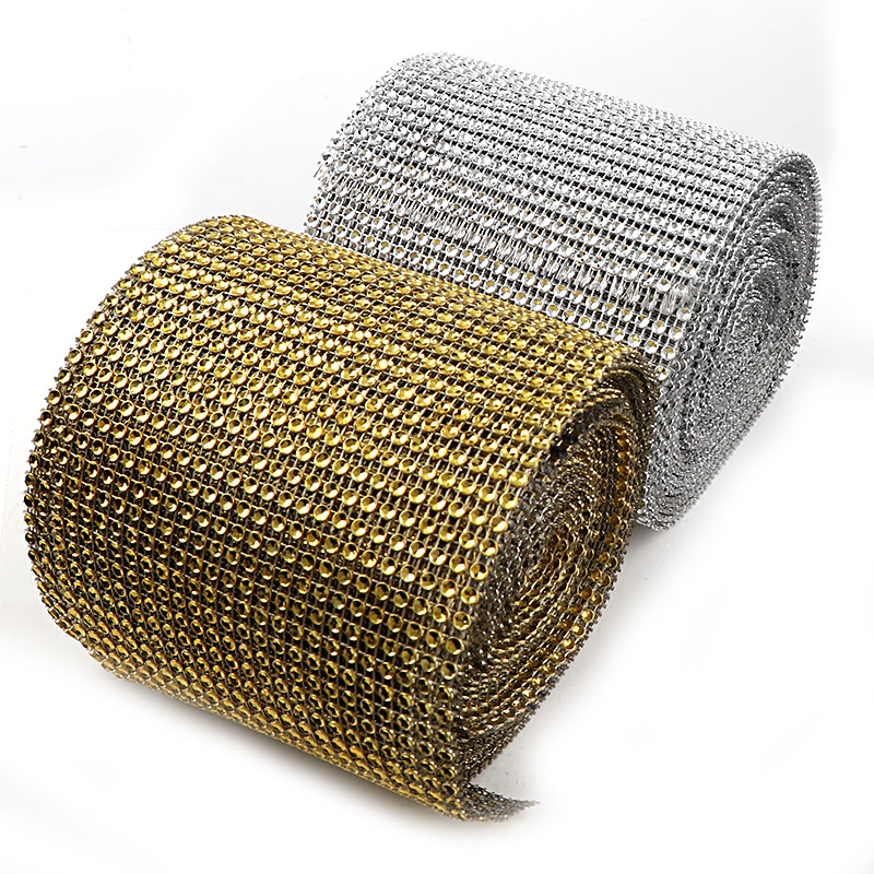 24 Rows 1 Yard 4mm Half Round Gold/Silver Punk Style Rivet Mesh Trim ABS Plastic Sew On For DIY Craft Jewelry Decoration