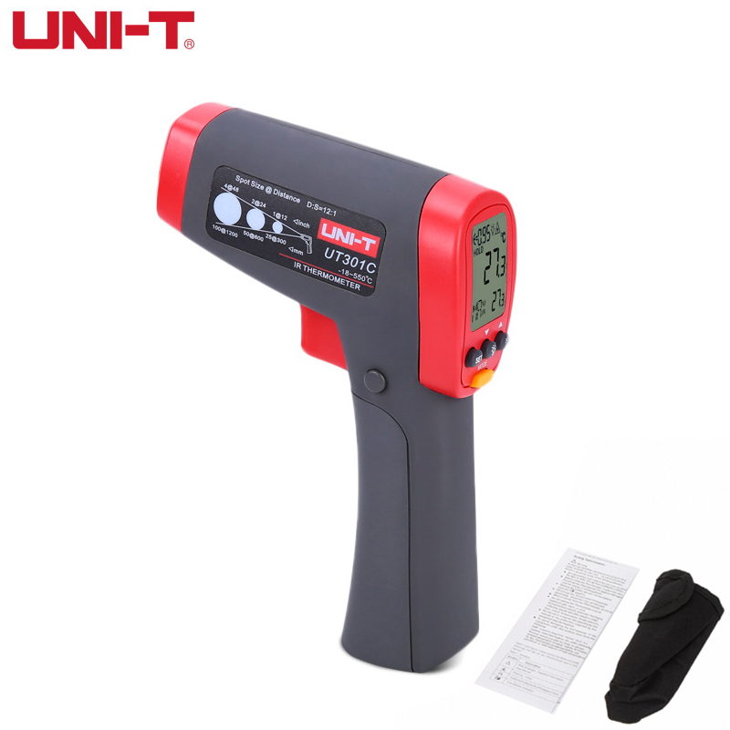 UNI-T UT301C 12:1 Infrared IR Thermometer Laser Temperature Gun Meter Range -18~550 Degree,0~1022 Fahrenheit new uni t ut302b 32 550 c 20 1 infrared thermometer