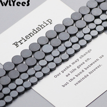 WLYeeS Black Matte Hematite Natural Stone Beads Flat Round Coin 6/8mm Spacer Loose for DIY Jewelry Bracelet Earring Making