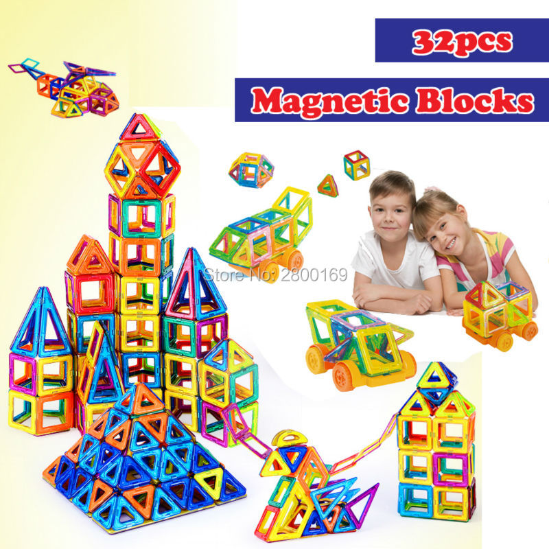 32PCS Mini Magnetic building bricks Toys,Designer Construction 3D DIY Building Blocks  Enlighten Bricks Educational toys for kid 32 32 dots plastic bricks the island straight crossroad curve green meadow road plate building blocks parts bricks toys diy