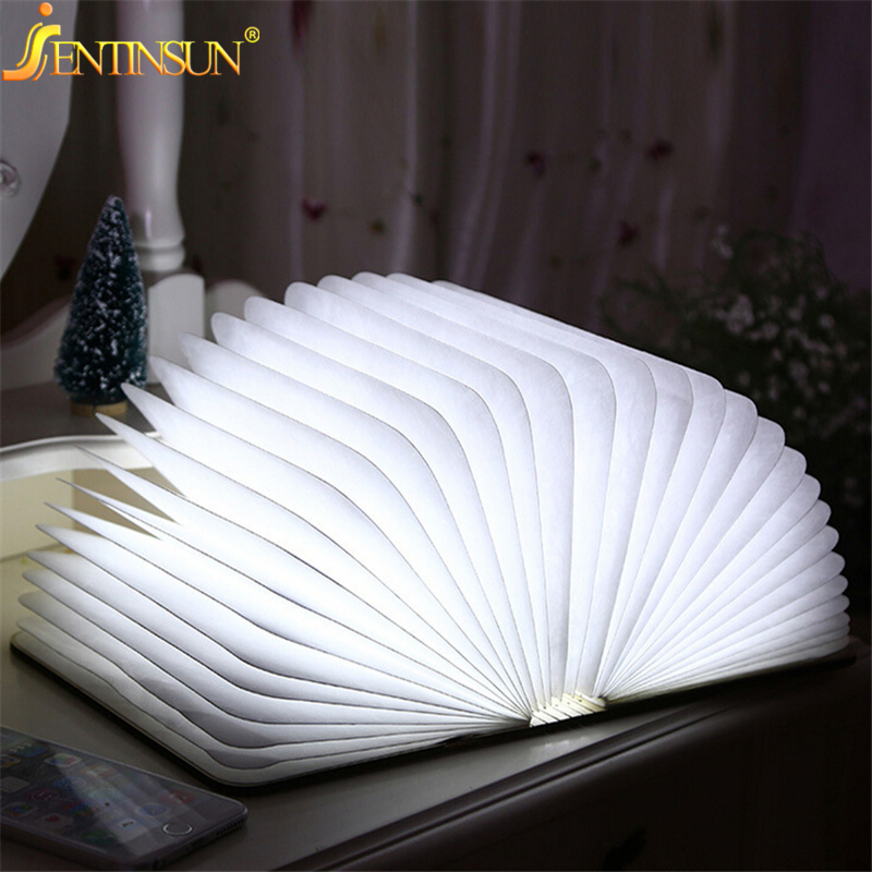 Fashion 4.5W Wooden Folding LED Night Light Booklight LED USB Book Lights Art Reading Lamp Rechargeable Lighting Book Style three dimensional 3d visual reading lights wood acrylic clear small lamp button type led stereo night light folding book lights