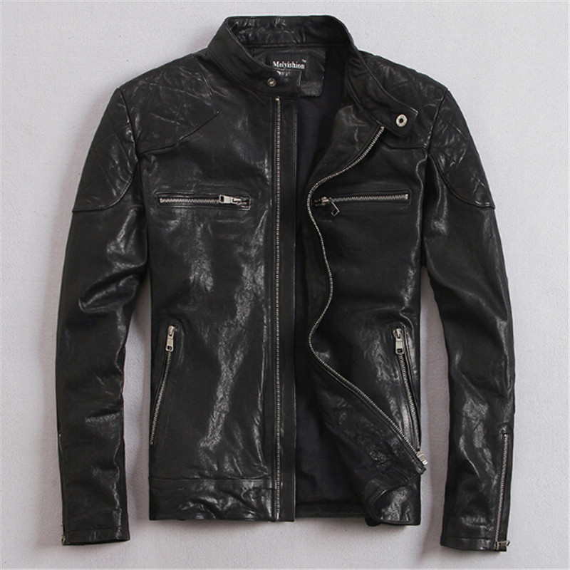 Real Leather Jacket Hot Sale Fall Winter Fashion Mens Black Color Genuine Leather Jacket Mens Wear Top Quality