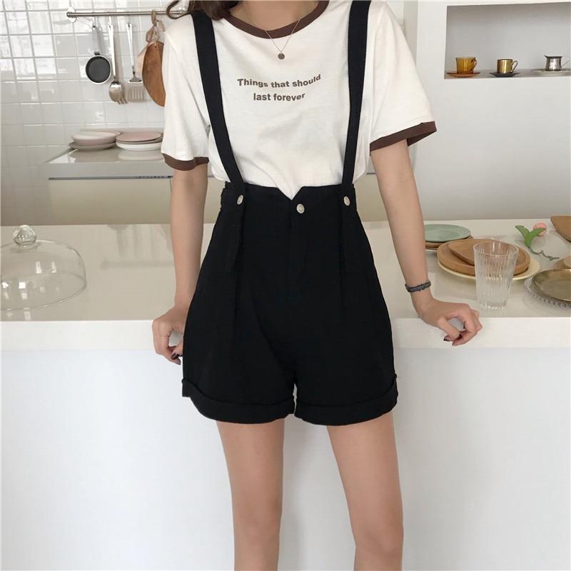 Summer Bib Overall Denim Short Women High Waist Wide Leg Suspender Short Casual Loose Black White Fashion Strap Jeans Shorts