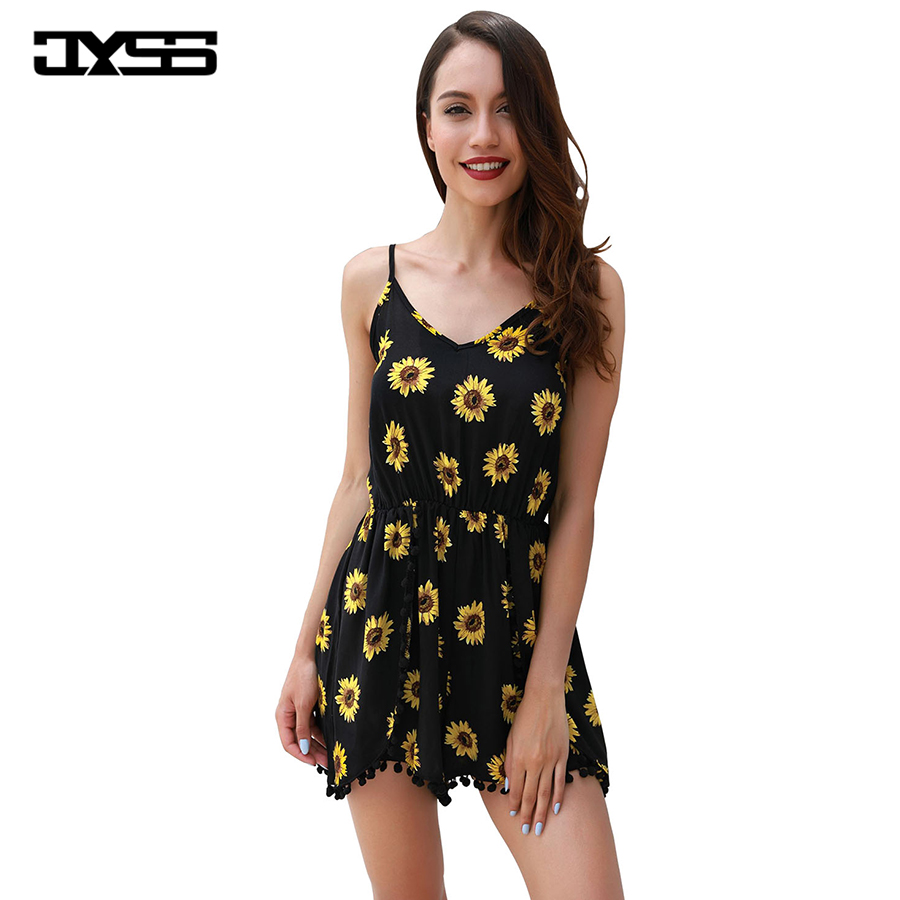 JYSS Bohemian Style Beach Playsuits For Women New Sexy Sunflower Pattern Combinaison Short Femme Loose Playsuit 8130#