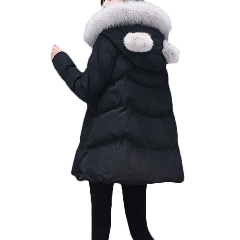 2017 New Winter Women's Hooded Parka Jacket Fashion Loose Plus Size Faux Fox Fur Coat Long Down Warm Outerwear For Girls L968 2017 new luxury faux fur coats fashion winter jacket for girls baby clothes parka elegant clothing little girl outerwear coat