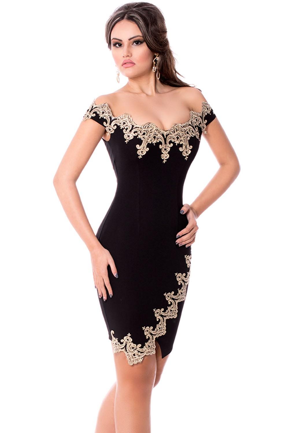 Gold-Lace-Applique-Black-Off-Shoulder-Mini-Dress-LC22715-2-1