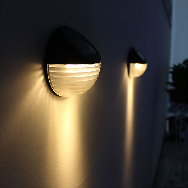 6LED Solar Power Wall Mount Light Outdoor Warm White Waterproof LED Garden Yard Fence Lamp Corrugated Solar Sconce Wall Light