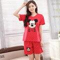 Verano nuevo traje de pijama de algodón para mujer Rojo Los puntos blancos Encantadores de mickey patrón de estilo de cuello redondo animal pijamas ropa de dormir Caliente