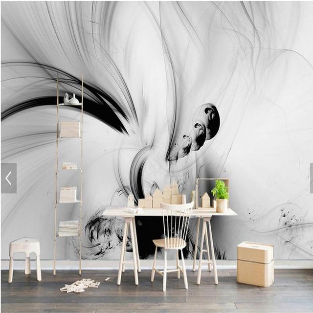 3d Abstrakten Wandmalereien Schwarz Weiss Linien Streifen Hd Foto