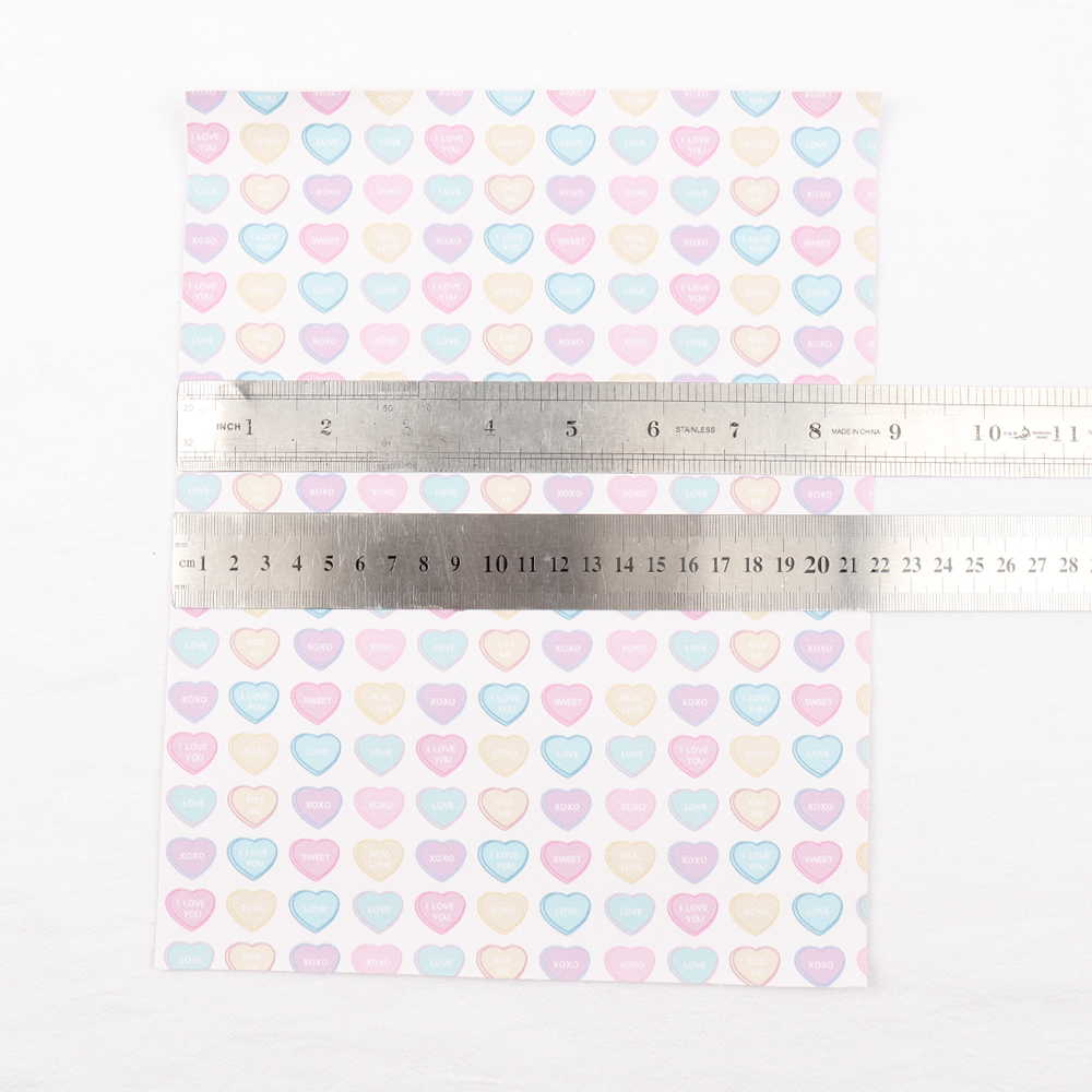 22*30cm Love Heart Printed Synthetic Leather Fabric Sheet DIY Hair Bow Materials