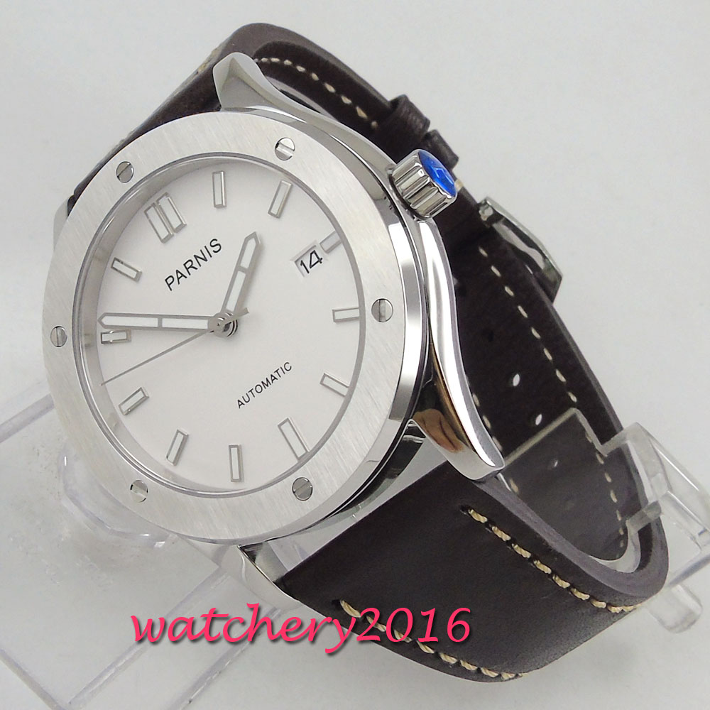 42mm PARNIS White Dial Brushed Steel Case Sapphire Glass Japan NH35A 24 jewels movement Automatic mechanical mens Wristwatch42mm PARNIS White Dial Brushed Steel Case Sapphire Glass Japan NH35A 24 jewels movement Automatic mechanical mens Wristwatch