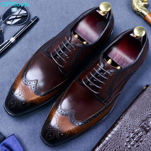2019 Brogue Formal Shoes Men Cow Leather Dress Shoes Genuine Retro Pointed Toe Oxford Male Footwear Lace-up Flat Shoes