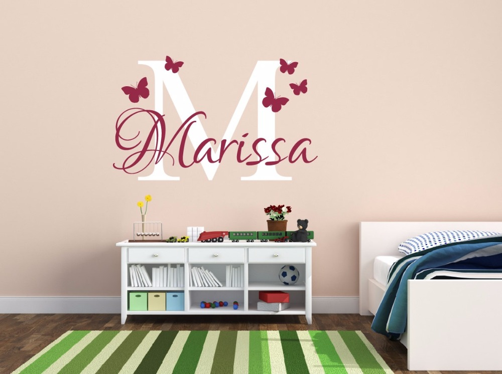 Butterfly name personalized removable vinyl waterproof - Childrens bedroom wall stickers removable ...