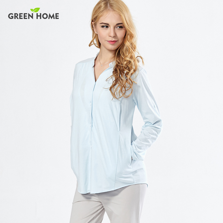 Green Home Cotton Maternity Pajamas Long Sleeves Winter Maternity Sleepwear for Pregnant Feeding Pajamas Suit for Women stylish cowl neck long sleeves color match batwing irregular design cotton blend sweater for women