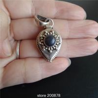 T9172 Népal 925 Argent à la main pendentif, Tibétain Antiqeud Coeur Lapis Vintage boîte de Prière GAU amulette, livraison gratuite
