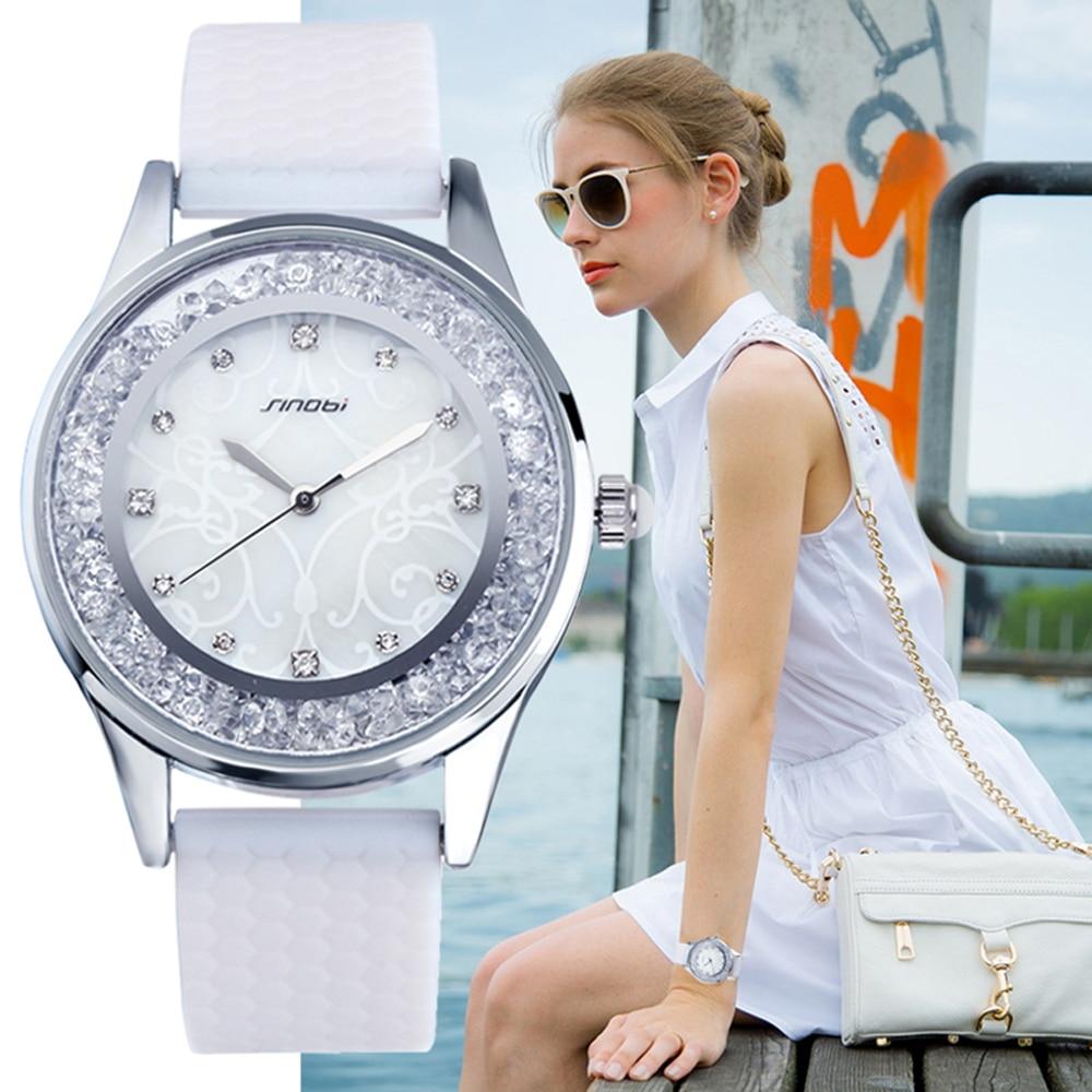 Prix pour SINOBI De Mode Quartz Montres Femmes Diamants Montre-Bracelet Silicone Bracelet Top Marque De Luxe Dames Robe Horloge Femelle Nouveau