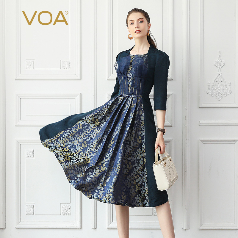 VOA De Seda Jacquard Vestidos de Festa Mulheres de Outono Do Vintage Elegante Cintura Alta Azul Marinho Túnica Magro Senhoras Vestido Midi A10027