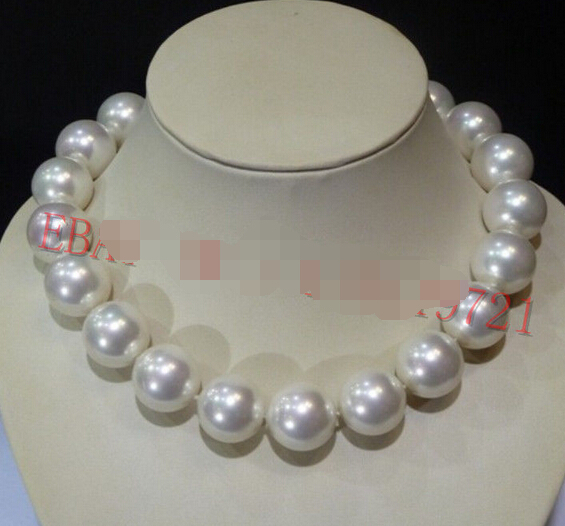 """Wonderful Long 16-24/"""" Huge 20MM White Shell Pearl Round Beads Necklace AAA+"""