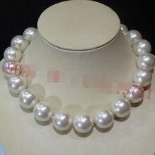 """>@> Новинка 20 мм АААА белый Южно-морской раковины жемчужные круглые бусы ожерелье 1"""" ААА стиль изысканные благородные настоящие натуральные и"""