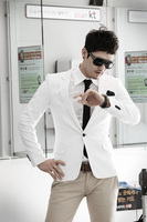Free Shipping Hot Sale 2014Men Suit Men blazer white/blue/black/pink Casual Suit men Slim Formal clothing New Arrival!