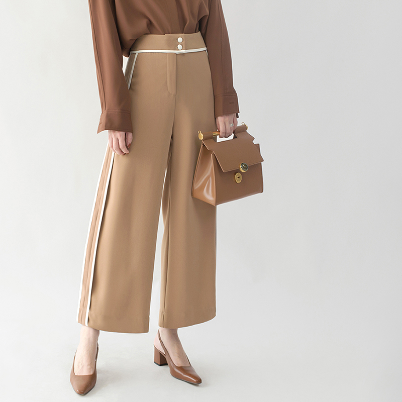Alta Oficina 2018 Primavera Mujer Mujeres khaki Pantalon Pierna De Hebilla Pantalones La Cintura Las Black Wqjgr Dama 1BRcW4Bq