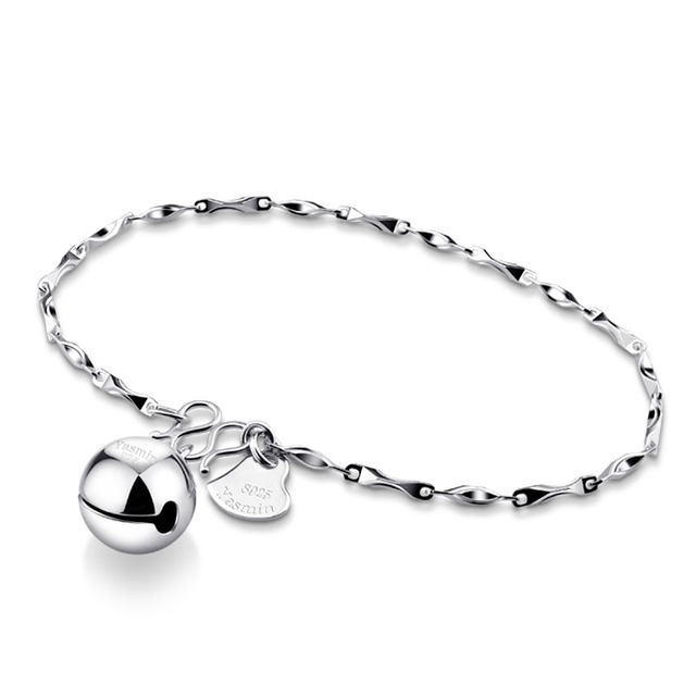 Fashion 925 Sterling Silver Bracelet Simple Woman Solid Sterling