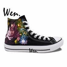 Wen Hand Painted Shoes Design Custom Naruto Sasuke Black High Top Men Women's Anime Canvas Sneakers Birthday Presents