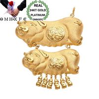 OMHXFC Wholesale European Fashion Woman Girl Bride Party Birthday Wedding Vintage Fortune Pig 24KT Gold Pendant Necklace EX126