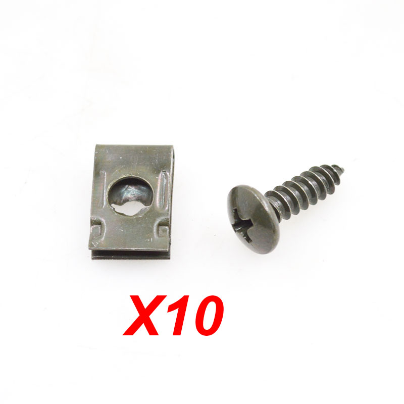10sets/lot Motorcycle Car Spring Metal Retainer Screw U Type Car Clips Fit Hole M4 M5 Self tapping Screws-in Nuts & Bolts from Automobiles & Motorcycles