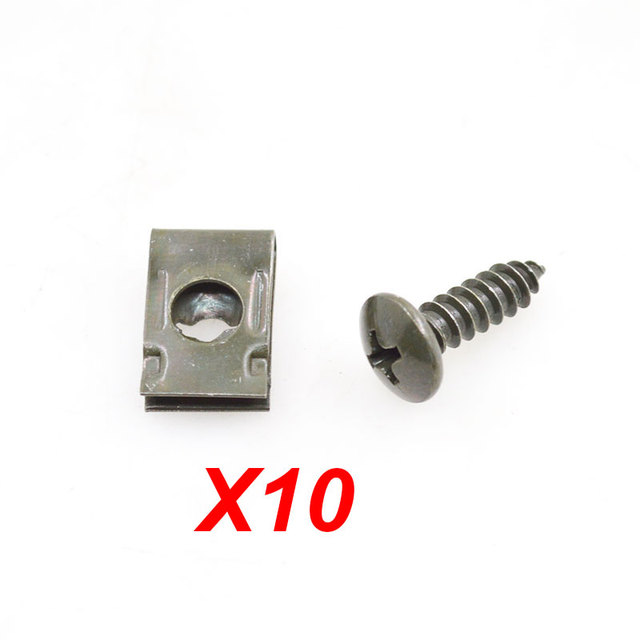 10sets/lot Motorcycle Car Spring Metal Retainer Screw U-Type Car Clips Fit Hole M4 M5 Self-tapping Screws