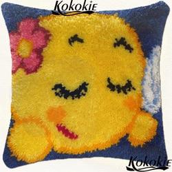 Diy 3d poduszka koc nici do haftu zatrzask haka dywan zestawy cartoon Patchwork poszewki na poduszkę Cross-stitch uśmiech drukowane robótki