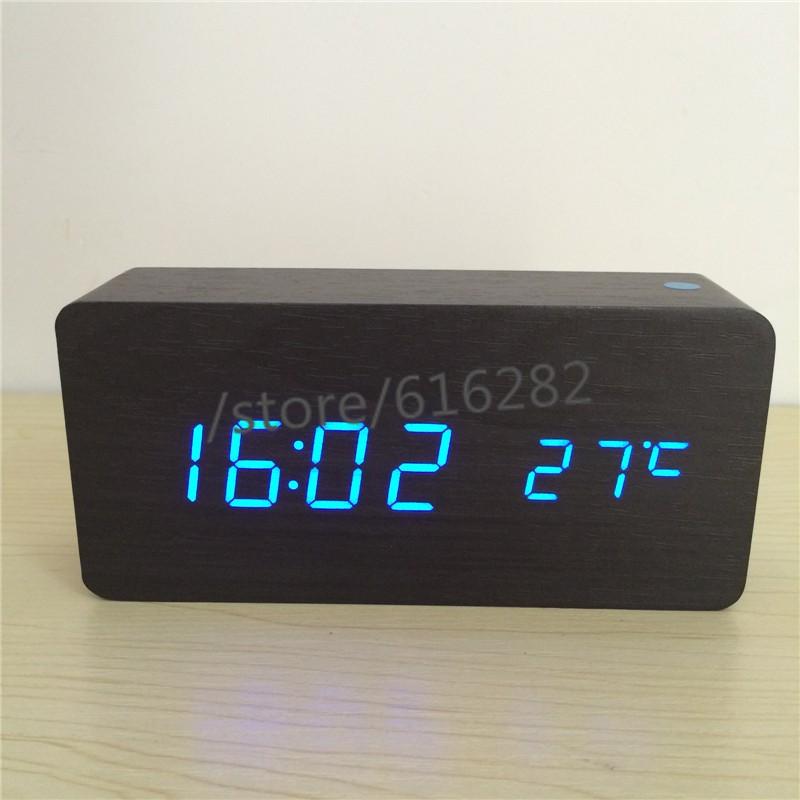 537648aee8c Ativado por som Despertadores Termômetro relógios De Madeira   Bambu ...