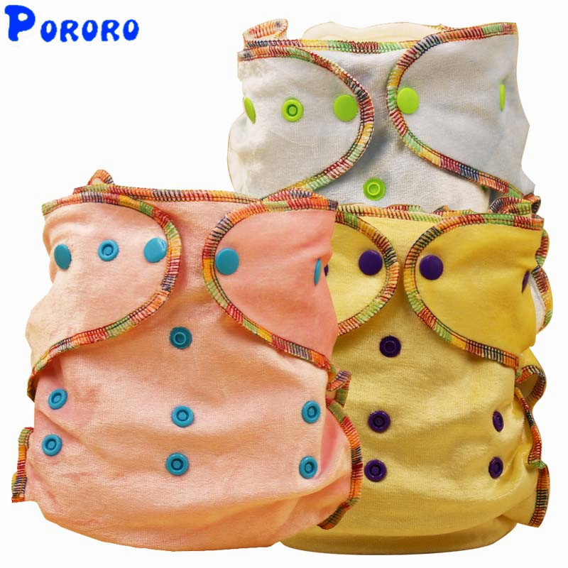 10 PCS Velvet Nappy Baby Washable Cloth Diaper Nappy Cover  Solid Color Reusable Cloth Diapers Color Random
