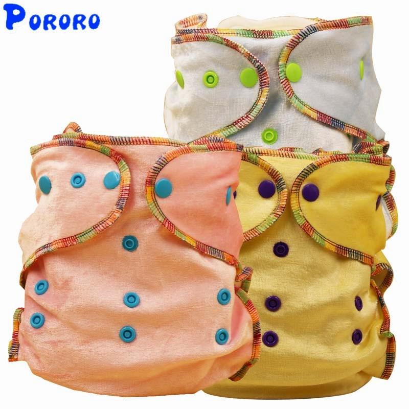 10 PCS Velvet Nappy Baby Tvättbar Blöja Nappy Cover Solid Färg - Blöjor och potträning