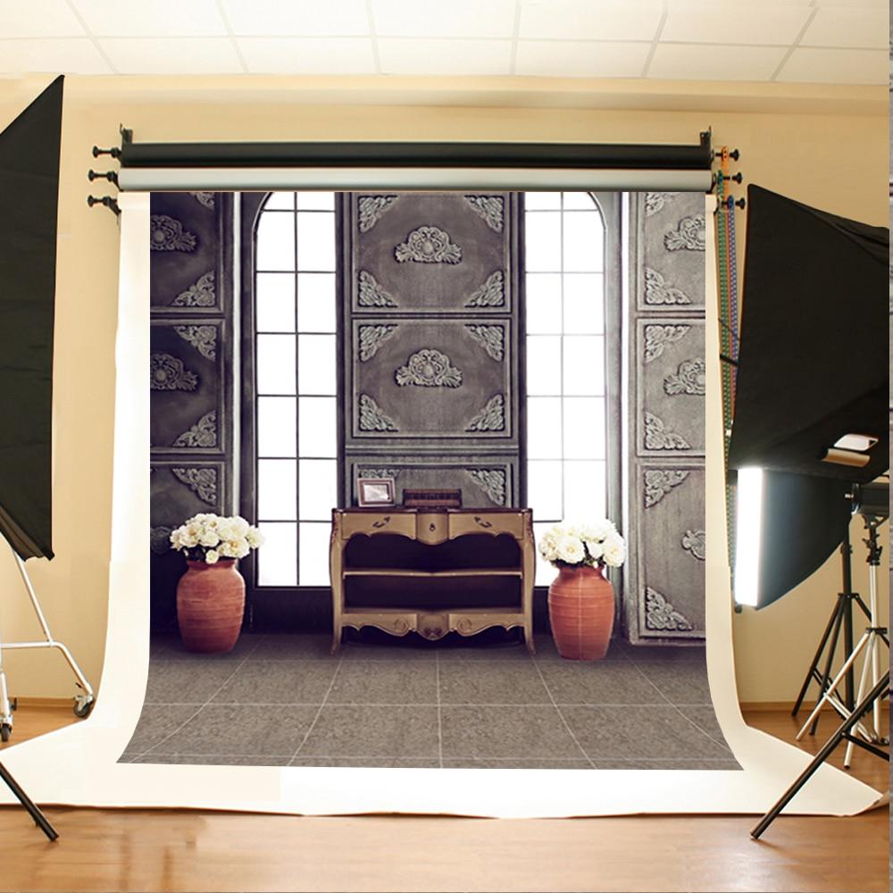 Wedding Photography Background White Flower Vase Digital Printing Background Cabinet Radio Backdrops for Photographic Studio