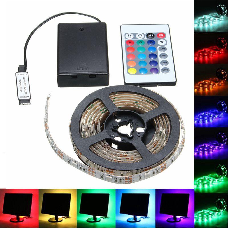 Batterie Betrieben RGB FÜHRTE streifen licht 30/50/100/150/200 cm 5050 Decor lampe Fernbedienung control DC5V Party hause beleuchtung