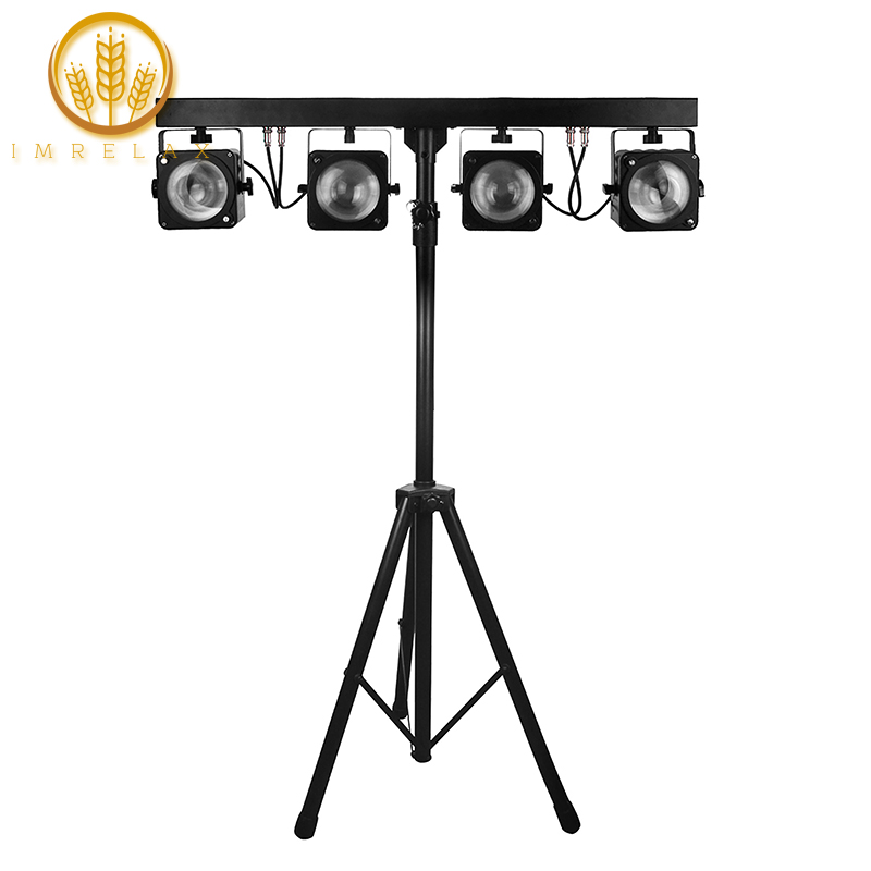 Imrelax 4pcs 30w Rgb 3in1 Cob Led Par Light Kit System With 2 5 Meter Stand And Foot Control Dj Stage Disco Party