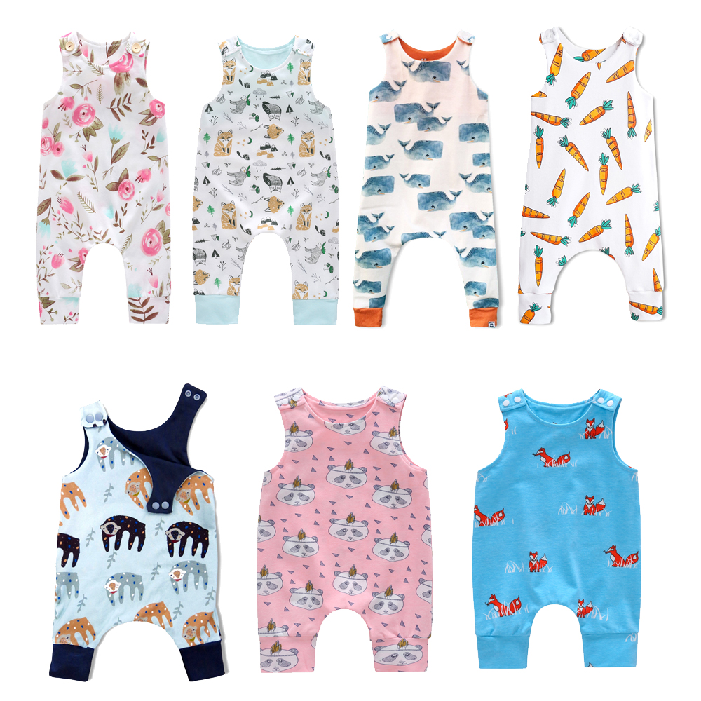 2018 New Baby Newborn Kids Toddler Boys Girls Clothes Sleeveless Short and Long Romper Floral Elephant Jumpsuit Playsuit Sunsuit 2017 new sequins baby girl romper clothes summer sleeveless tutu skirted toddler kids jumpsuit outfit sunsuit princess costume