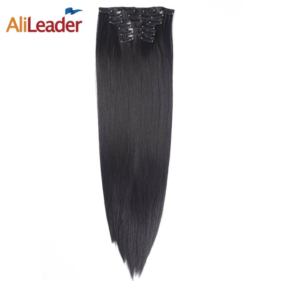 AliLeader Products Full Head Clip In Hair Extension Natural Black 6 Pcs Set 16 Clips 22