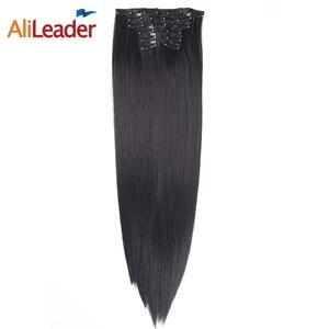 Alileader продукты Полный начальник Клип В Наращивание волос натуральный черный 6 шт./компл. 16 Зажимы 22 дюймов длинные Наращивание натуральных волос для Для женщин свадебные